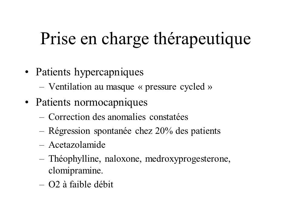 Prise en charge thérapeutique Patients hypercapniques –Ventilation au masque « pressure cycled » Patients normocapniques –Correction des anomalies con