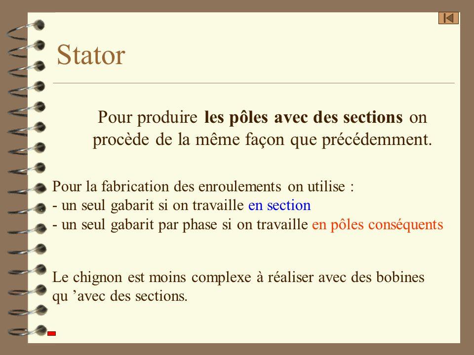 Stator Pour la fabrication des enroulements on utilise : - un seul gabarit si on travaille en section - un seul gabarit par phase si on travaille en p