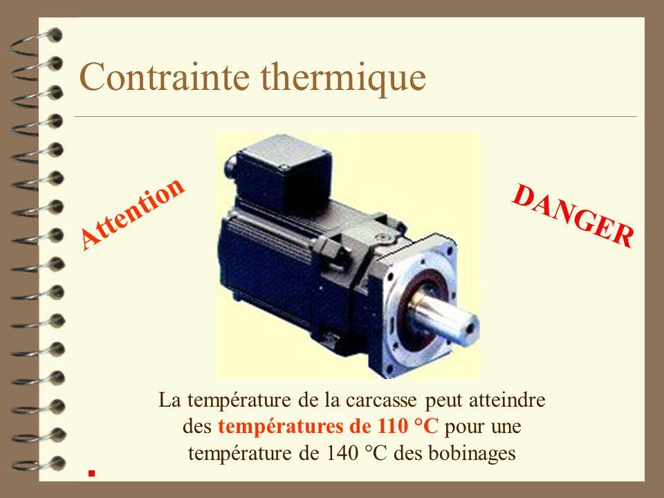 Contrainte thermique Attention La température de la carcasse peut atteindre des températures de 110 °C pour une température de 140 °C des bobinages DA