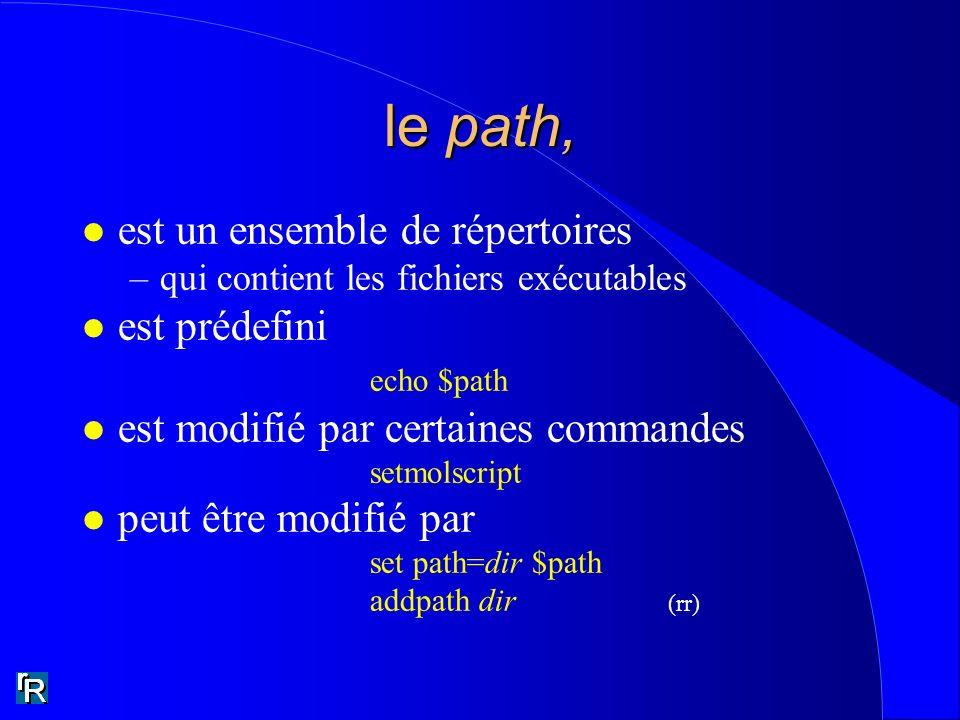 le path, l est un ensemble de répertoires –qui contient les fichiers exécutables l est prédefini echo $path l est modifié par certaines commandes setm