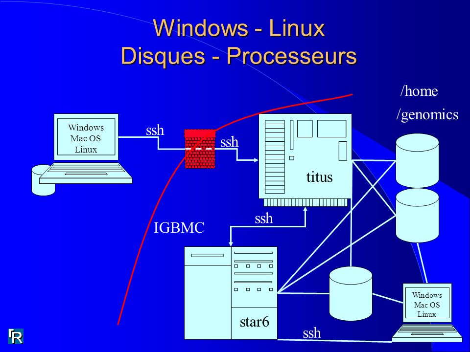 Windows - Linux Disques - Processeurs Windows Mac OS Linux titus star6 ssh /home /genomics IGBMC Windows Mac OS Linux ssh