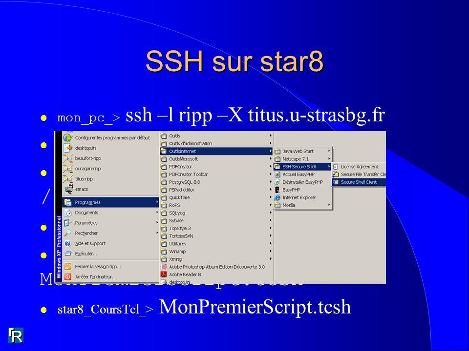 SSH sur star8 mon_pc_> ssh –l ripp –X titus.u-strasbg.fr l titus_ripp_> ssh –l ripp –X star8 l star8_ripp_> pwd /groupes/poch/ripp l star8_ripp_> cd C