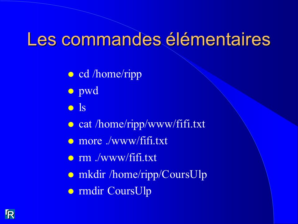 Les commandes élémentaires l cd /home/ripp l pwd l ls l cat /home/ripp/www/fifi.txt l more./www/fifi.txt l rm./www/fifi.txt l mkdir /home/ripp/CoursUl