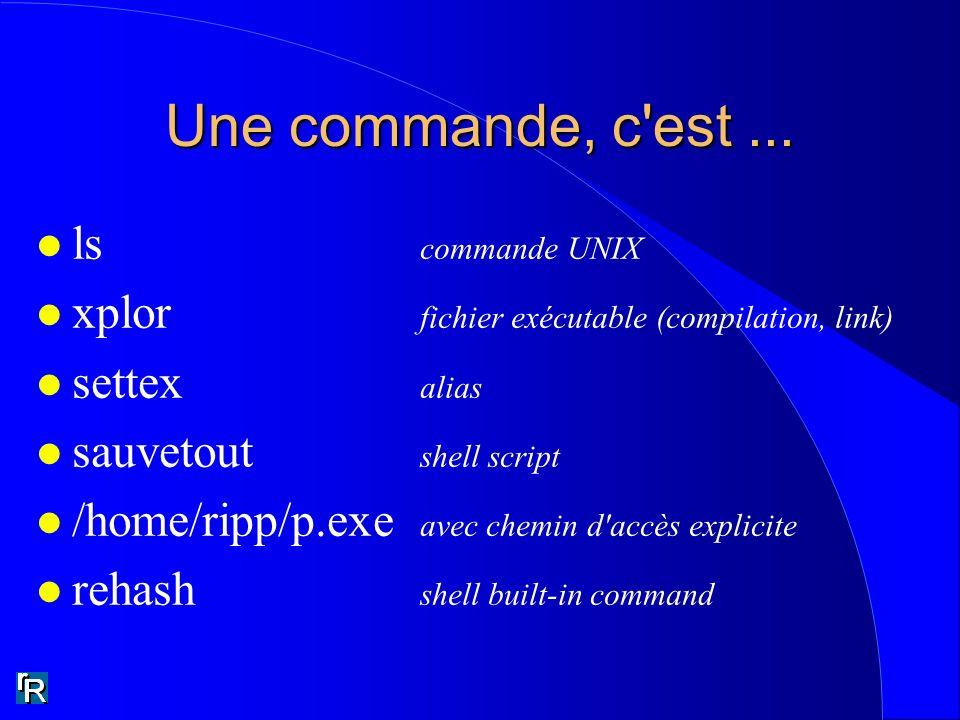 Une commande, c'est... l ls commande UNIX l xplor fichier exécutable (compilation, link) l settex alias l sauvetout shell script l /home/ripp/p.exe av
