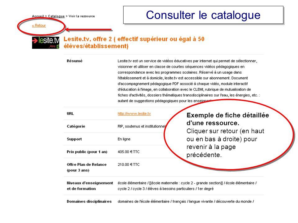 Exemple de fiche détaillée d'une ressource. Cliquer sur retour (en haut ou en bas à droite) pour revenir à la page précédente. Exemple de fiche détail