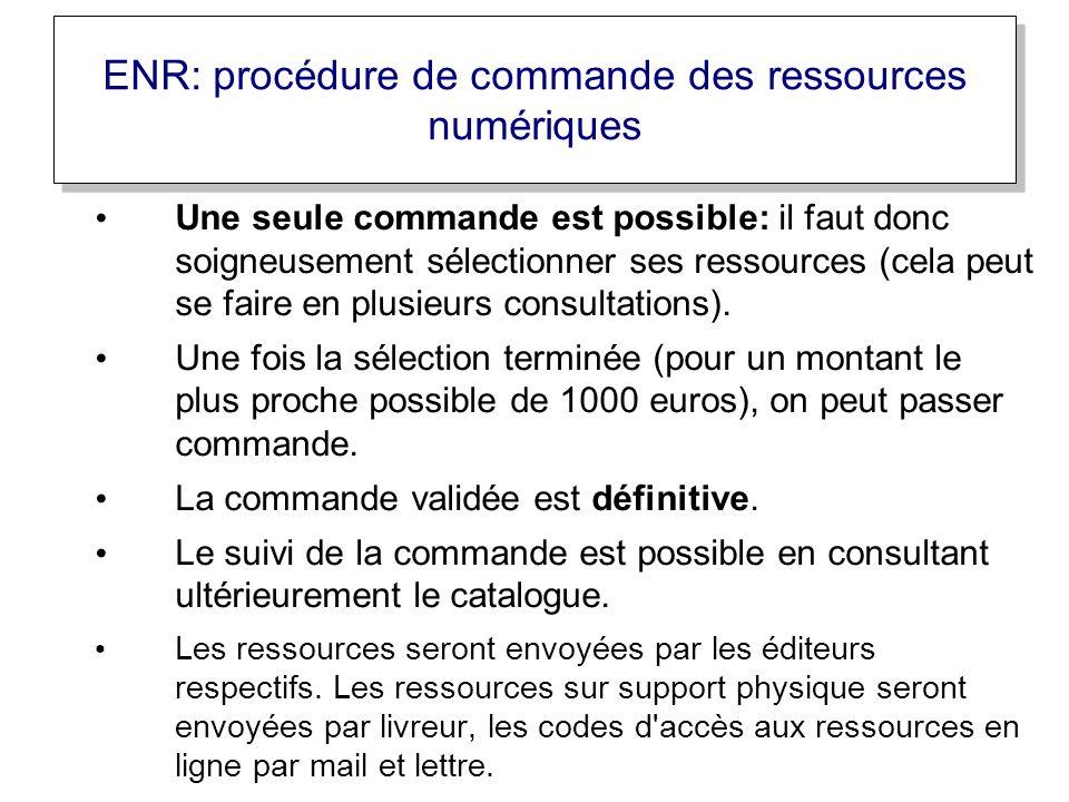 Une seule commande est possible: il faut donc soigneusement sélectionner ses ressources (cela peut se faire en plusieurs consultations).