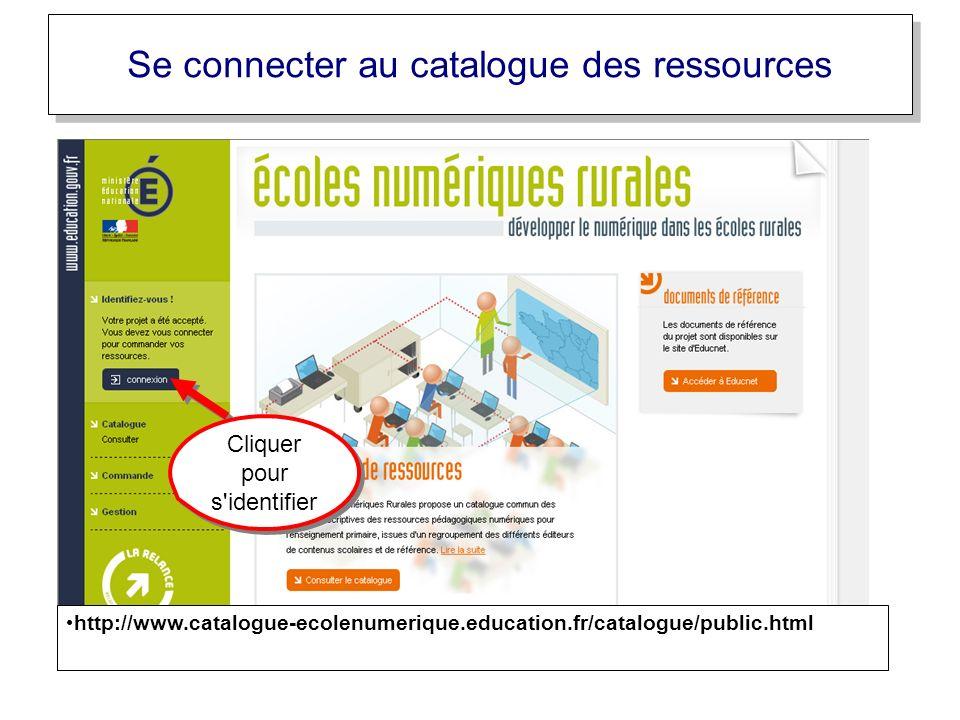 Cliquer pour s'identifier Se connecter au catalogue des ressources http://www.catalogue-ecolenumerique.education.fr/catalogue/public.html