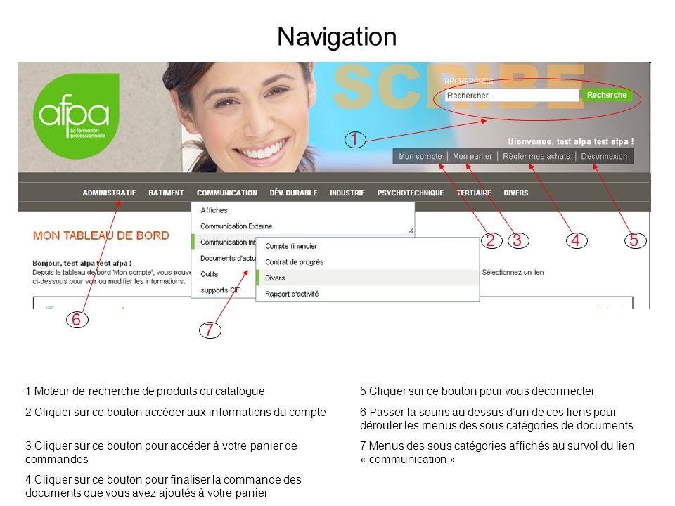 Navigation 1 Moteur de recherche de produits du catalogue5 Cliquer sur ce bouton pour vous déconnecter 2 Cliquer sur ce bouton accéder aux information