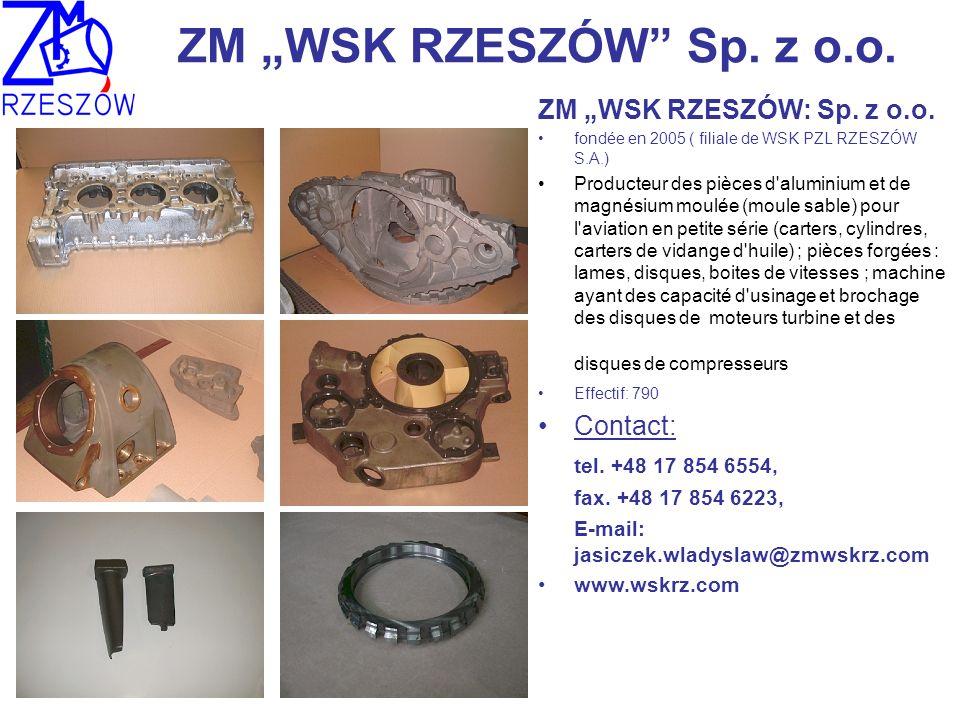 ZM WSK RZESZÓW Sp. z o.o. ZM WSK RZESZÓW: Sp. z o.o. fondée en 2005 ( filiale de WSK PZL RZESZÓW S.A.) Producteur des pièces d'aluminium et de magnési