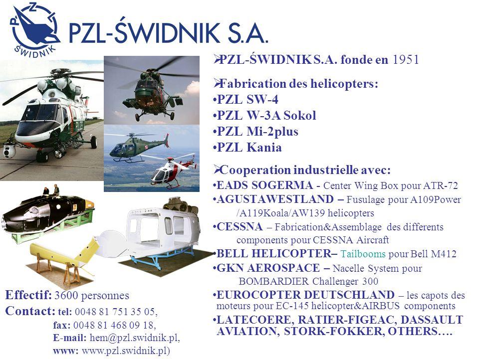 PZL-ŚWIDNIK S.A. fonde en 1951 Fabrication des helicopters: PZL SW-4 PZL W-3A Sokol PZL Mi-2plus PZL Kania Cooperation industrielle avec: EADS SOGERMA