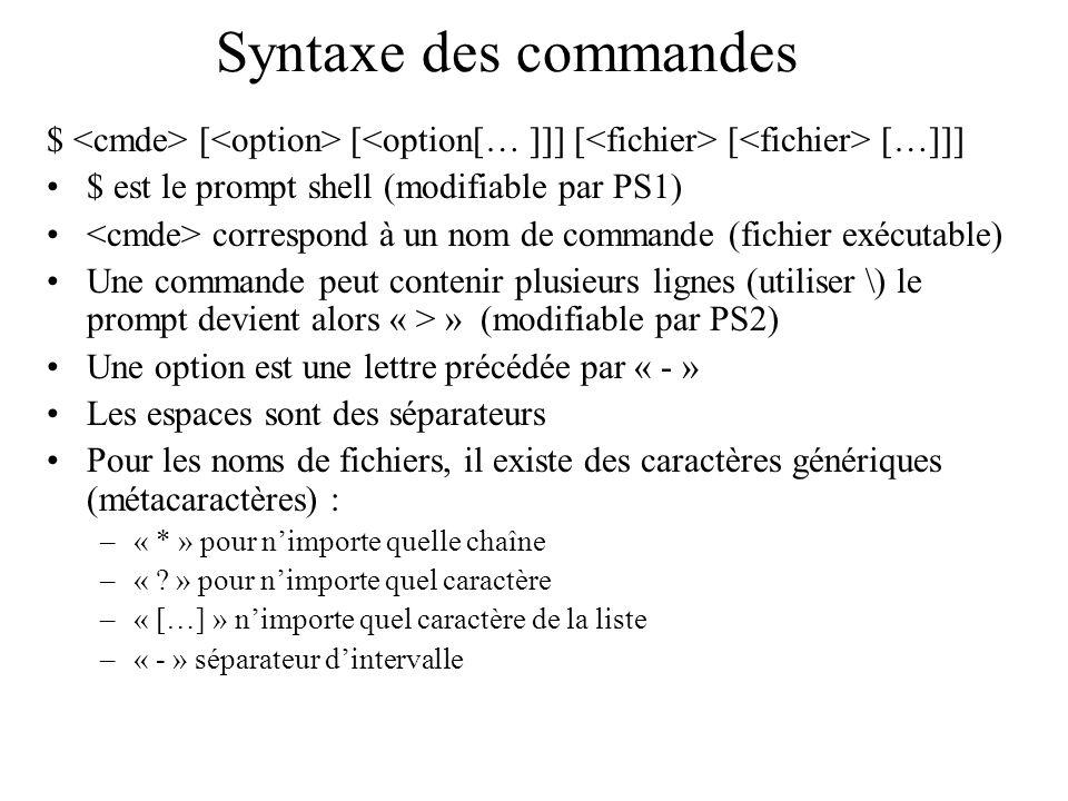Syntaxe des commandes $ [ [ [ […]]] $ est le prompt shell (modifiable par PS1) correspond à un nom de commande (fichier exécutable) Une commande peut