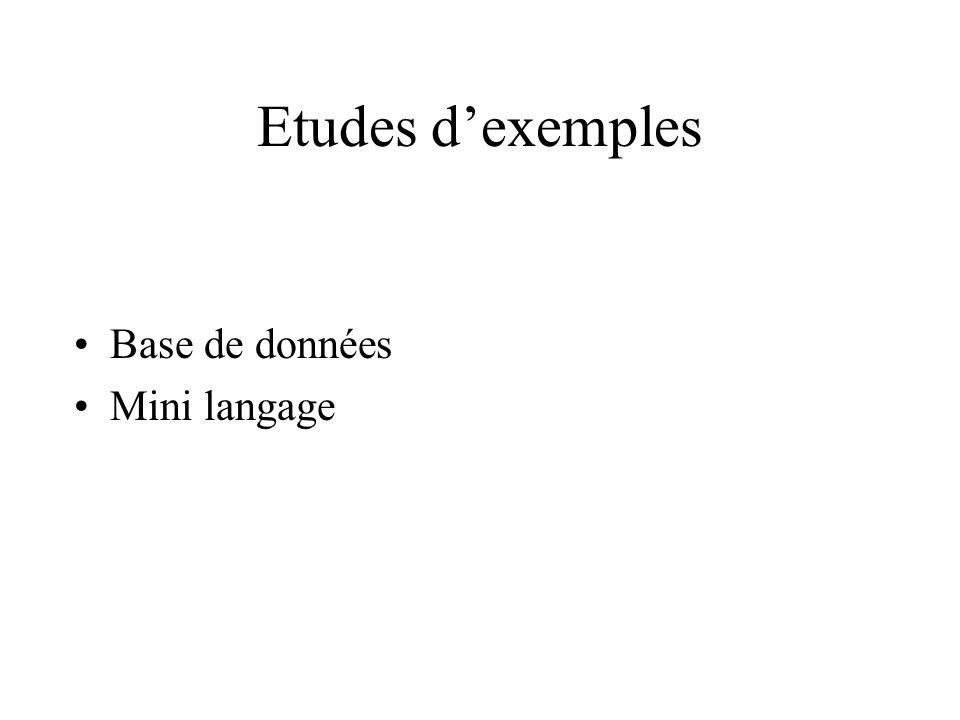 Etudes dexemples Base de données Mini langage