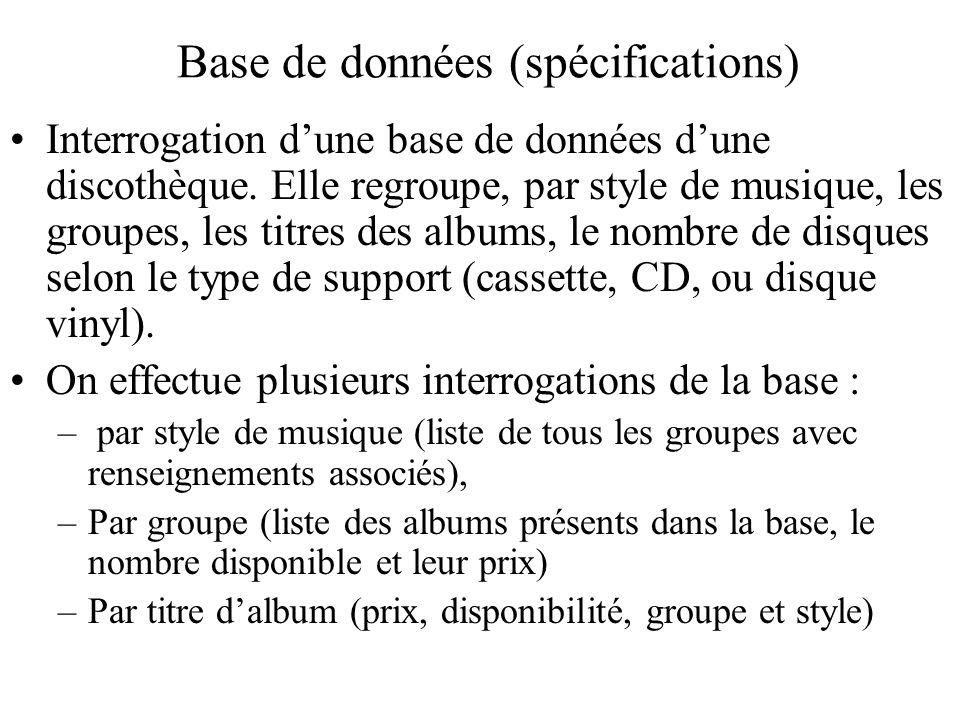 Base de données (spécifications) Interrogation dune base de données dune discothèque. Elle regroupe, par style de musique, les groupes, les titres des