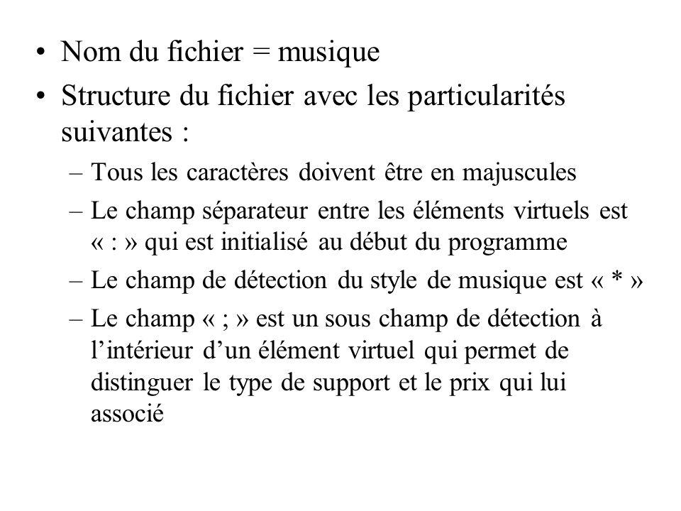 Nom du fichier = musique Structure du fichier avec les particularités suivantes : –Tous les caractères doivent être en majuscules –Le champ séparateur
