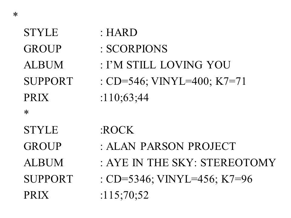 * STYLE : HARD GROUP : SCORPIONS ALBUM : IM STILL LOVING YOU SUPPORT : CD=546; VINYL=400; K7=71 PRIX :110;63;44 * STYLE:ROCK GROUP : ALAN PARSON PROJE