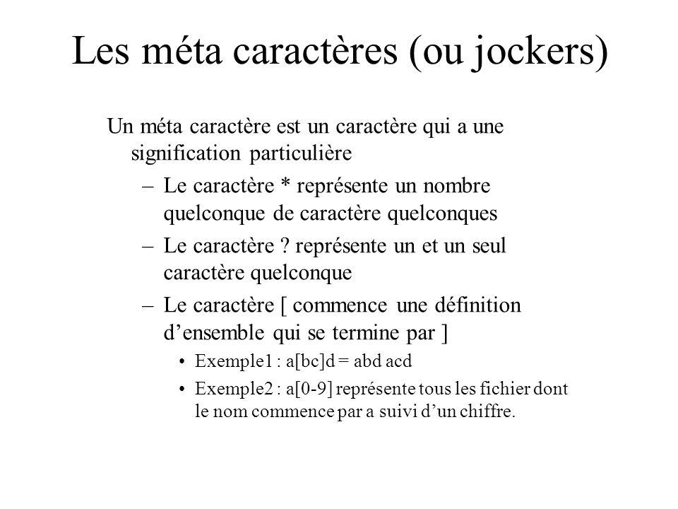 Les méta caractères (ou jockers) Un méta caractère est un caractère qui a une signification particulière –Le caractère * représente un nombre quelconq