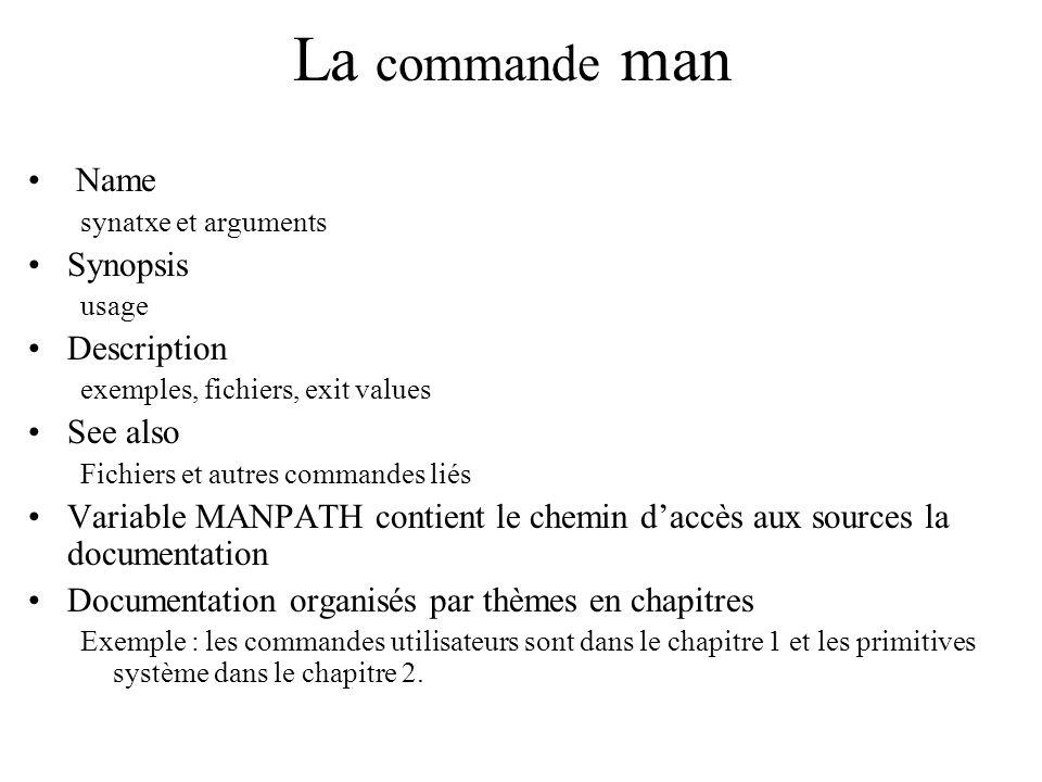 La commande man Name synatxe et arguments Synopsis usage Description exemples, fichiers, exit values See also Fichiers et autres commandes liés Variab