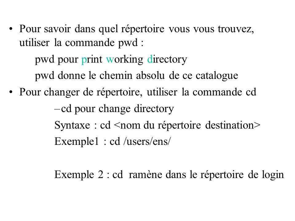 Pour savoir dans quel répertoire vous vous trouvez, utiliser la commande pwd : pwd pour print working directory pwd donne le chemin absolu de ce catal