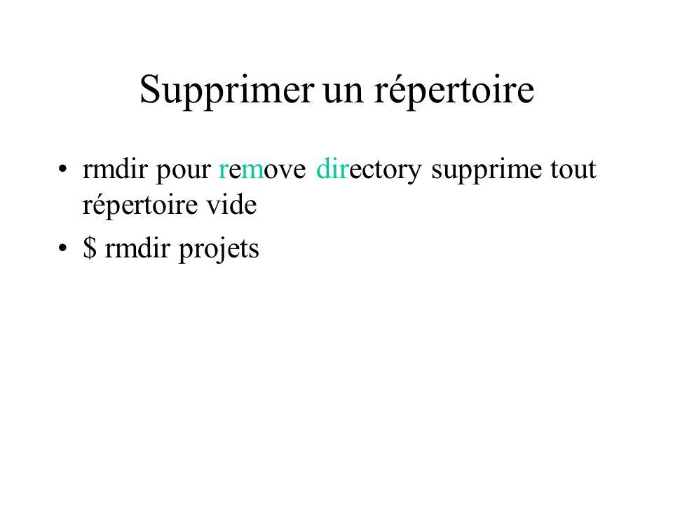 Supprimer un répertoire rmdir pour remove directory supprime tout répertoire vide $ rmdir projets