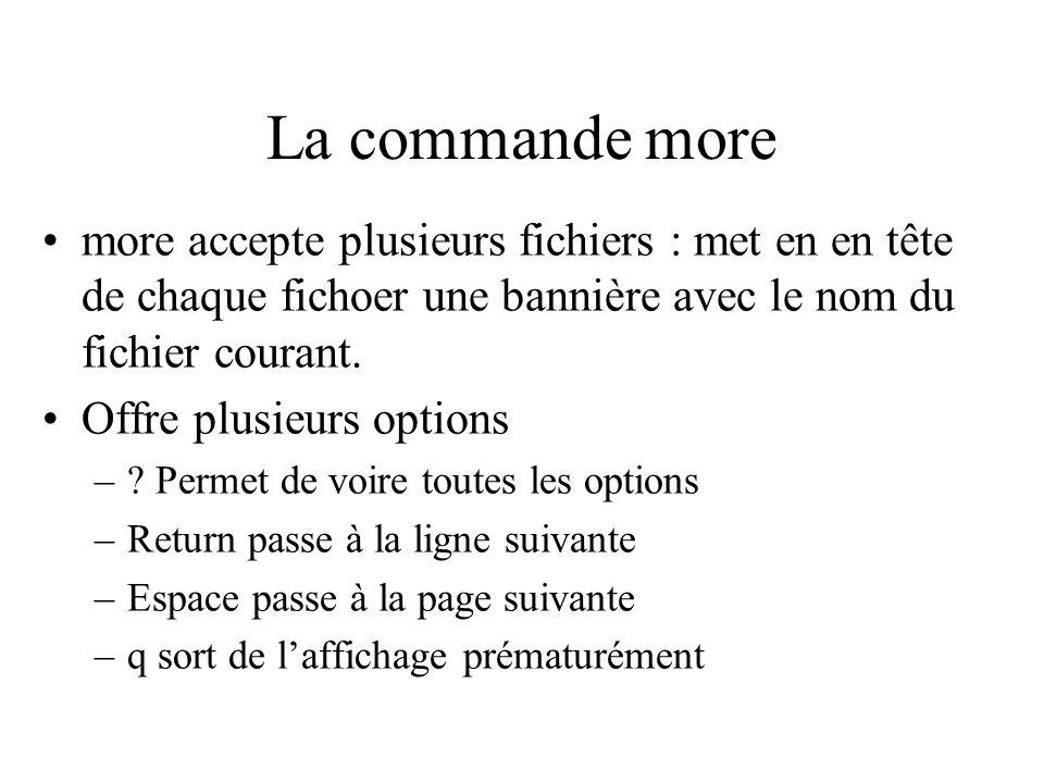 La commande more more accepte plusieurs fichiers : met en en tête de chaque fichoer une bannière avec le nom du fichier courant. Offre plusieurs optio