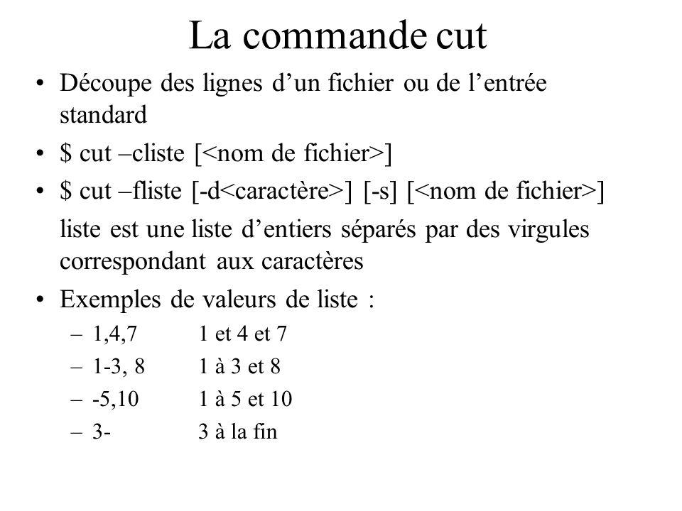 La commande cut Découpe des lignes dun fichier ou de lentrée standard $ cut –cliste [ ] $ cut –fliste [-d ] [-s] [ ] liste est une liste dentiers sépa