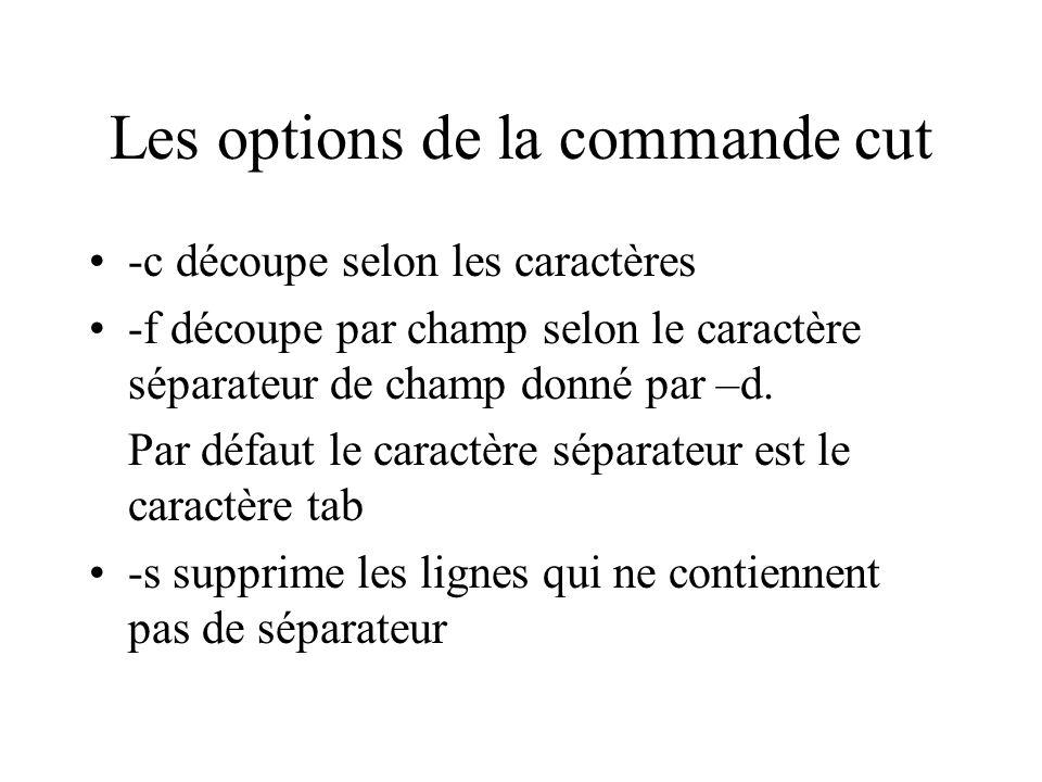 Les options de la commande cut -c découpe selon les caractères -f découpe par champ selon le caractère séparateur de champ donné par –d. Par défaut le