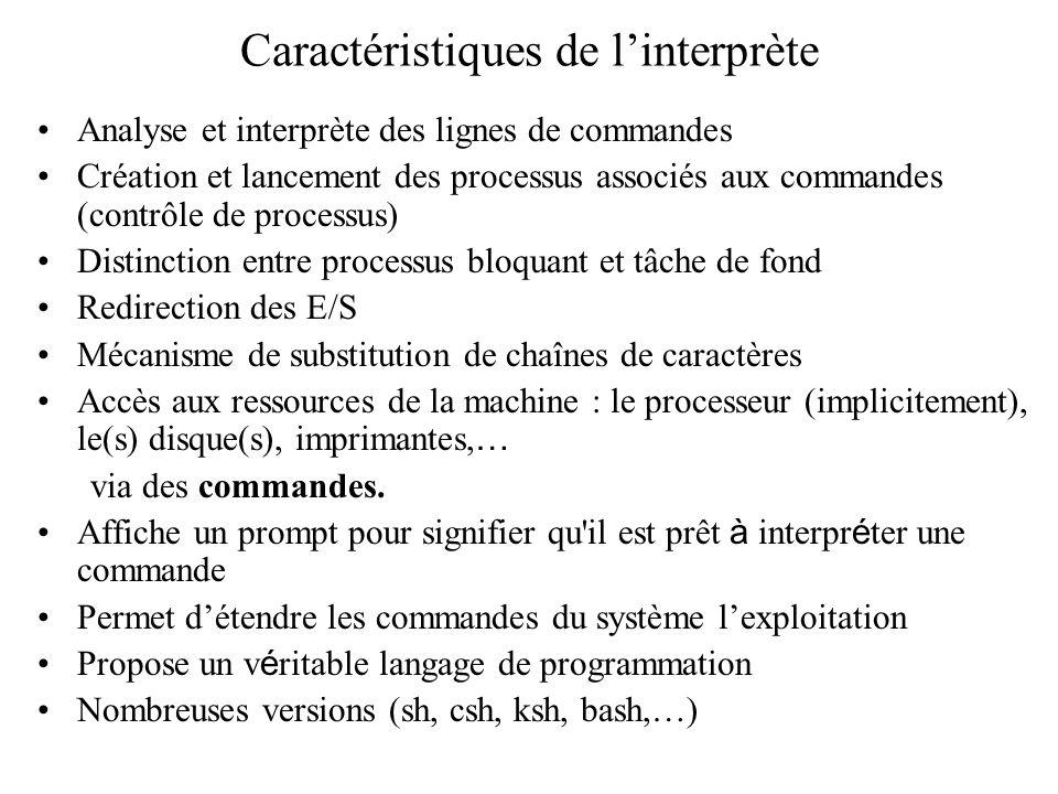 Caractéristiques de linterprète Analyse et interprète des lignes de commandes Création et lancement des processus associés aux commandes (contrôle de