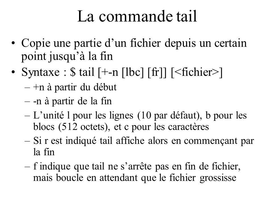 La commande tail Copie une partie dun fichier depuis un certain point jusquà la fin Syntaxe : $ tail [+-n [lbc] [fr]] [ ] –+n à partir du début –-n à