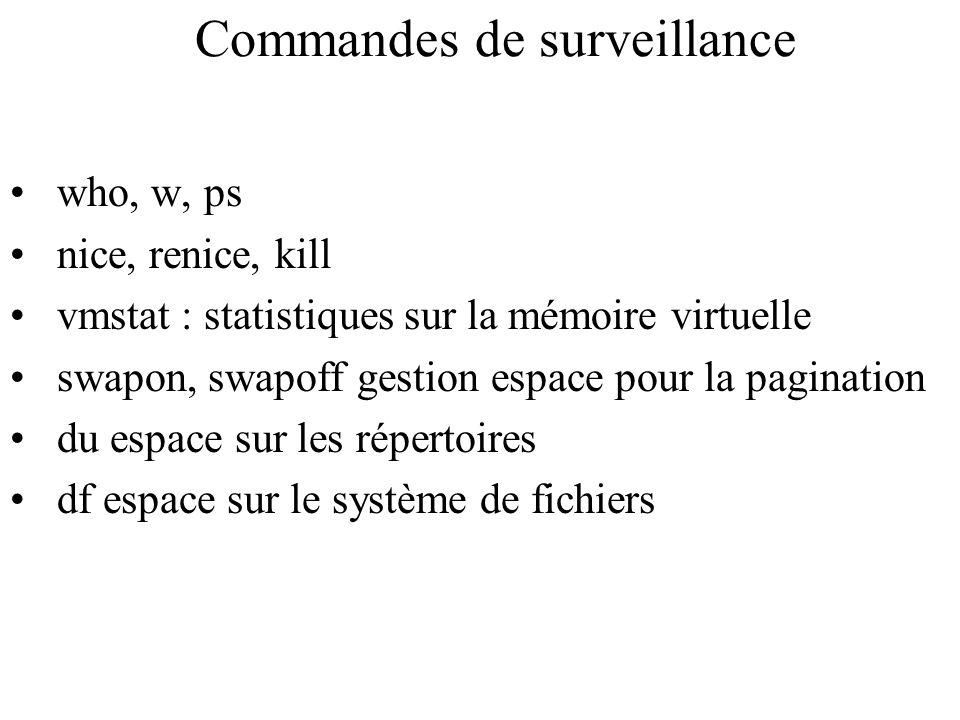 Commandes de surveillance who, w, ps nice, renice, kill vmstat : statistiques sur la mémoire virtuelle swapon, swapoff gestion espace pour la paginati