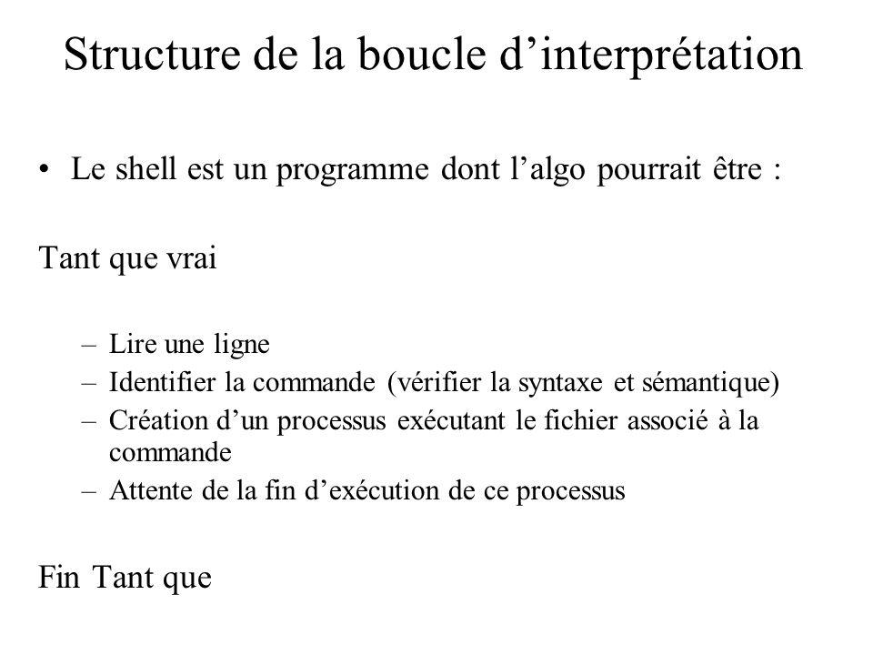 Structure de la boucle dinterprétation Le shell est un programme dont lalgo pourrait être : Tant que vrai –Lire une ligne –Identifier la commande (vér