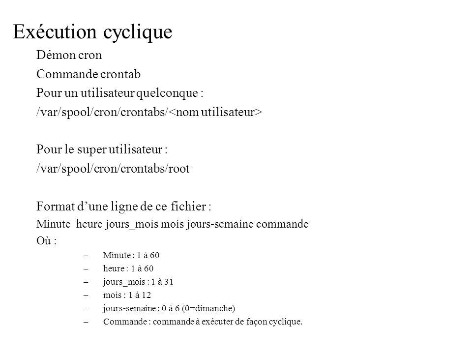 Exécution cyclique Démon cron Commande crontab Pour un utilisateur quelconque : /var/spool/cron/crontabs/ Pour le super utilisateur : /var/spool/cron/