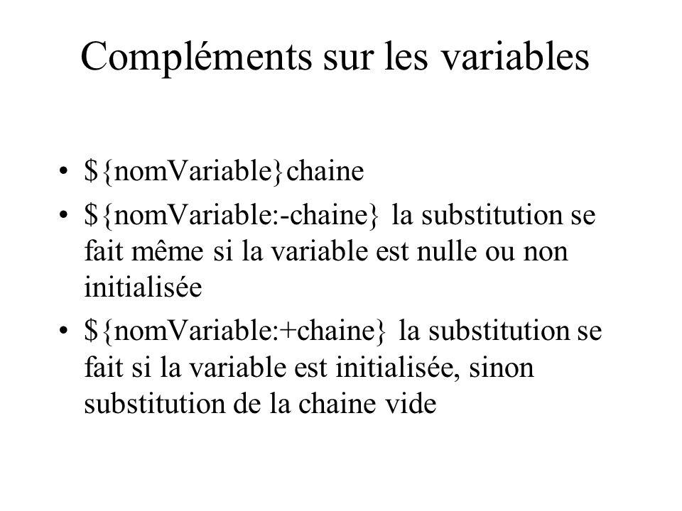 Compléments sur les variables ${nomVariable}chaine ${nomVariable:-chaine} la substitution se fait même si la variable est nulle ou non initialisée ${n