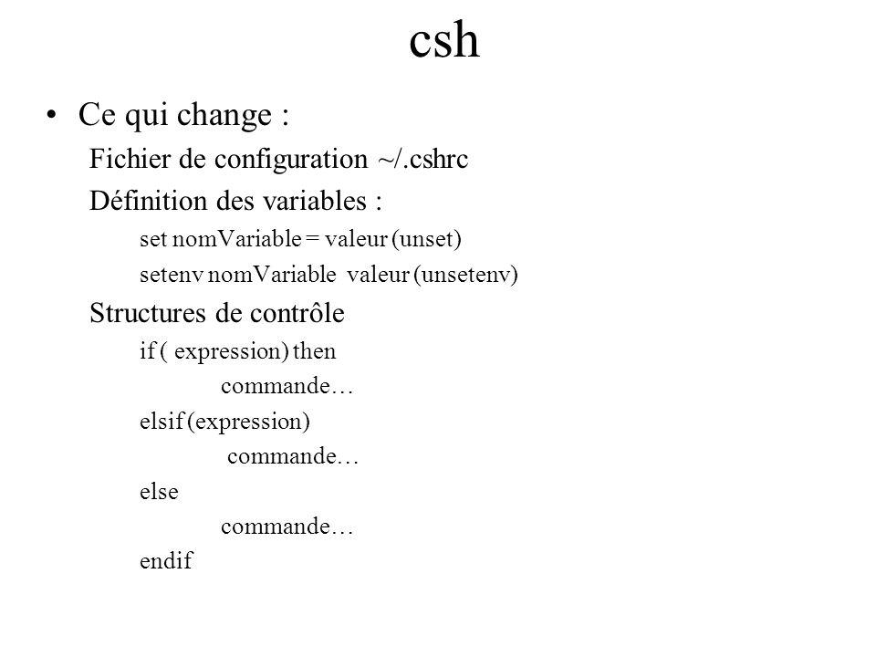 csh Ce qui change : Fichier de configuration ~/.cshrc Définition des variables : set nomVariable = valeur (unset) setenv nomVariable valeur (unsetenv)