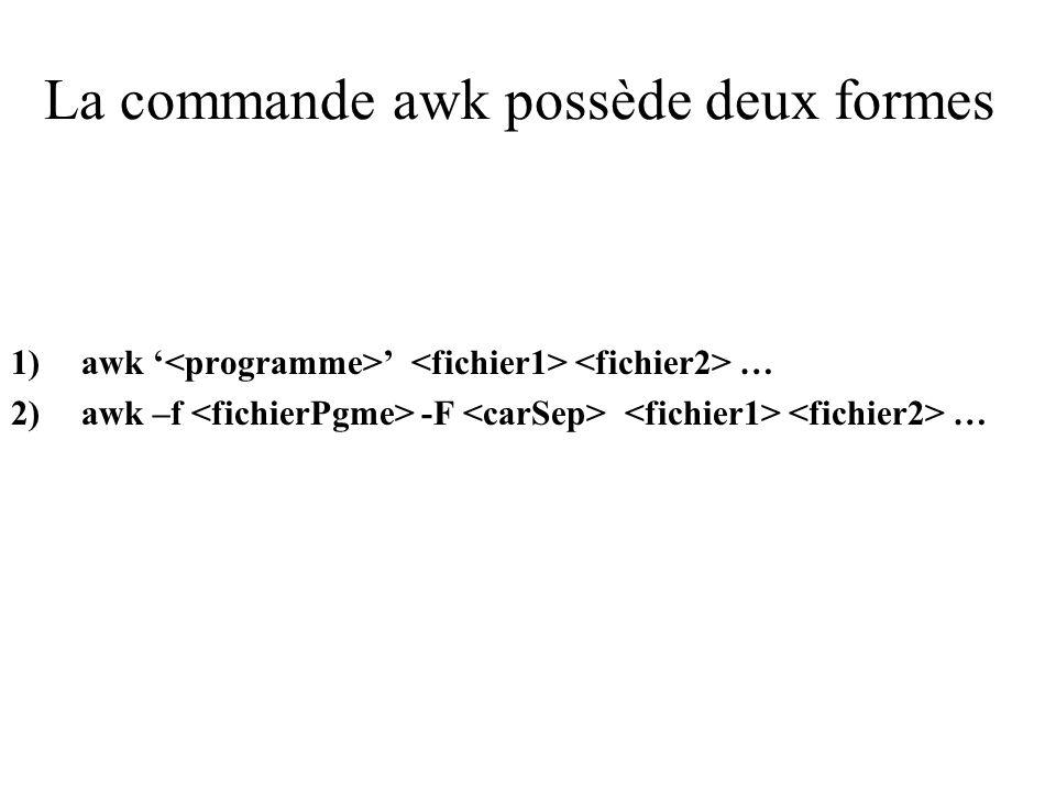La commande awk possède deux formes 1)awk … 2)awk –f -F …