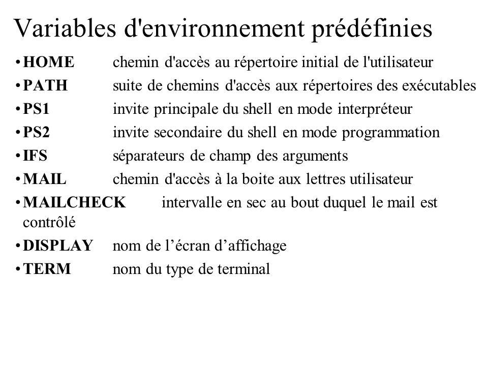 Variables d'environnement prédéfinies HOME chemin d'accès au répertoire initial de l'utilisateur PATH suite de chemins d'accès aux répertoires des exé