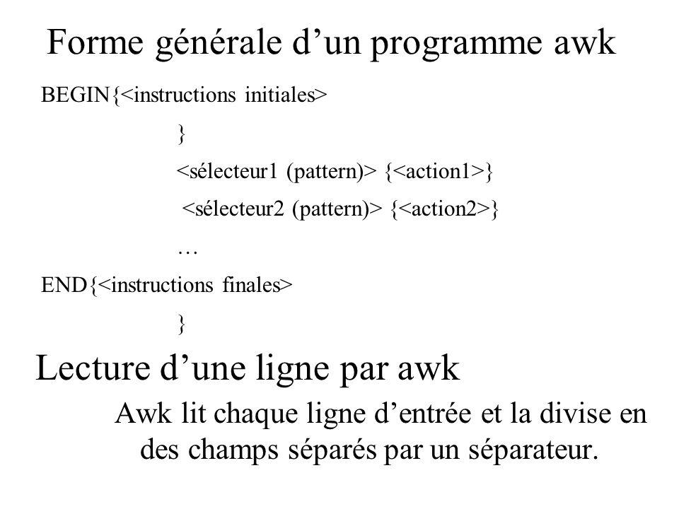 Forme générale dun programme awk Awk lit chaque ligne dentrée et la divise en des champs séparés par un séparateur. BEGIN{ } { } … END{ } Lecture dune