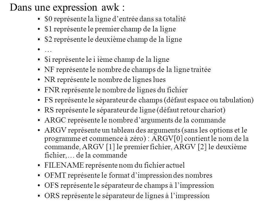 Dans une expression awk : $0 représente la ligne dentrée dans sa totalité $1 représente le premier champ de la ligne $2 représente le deuxième champ d
