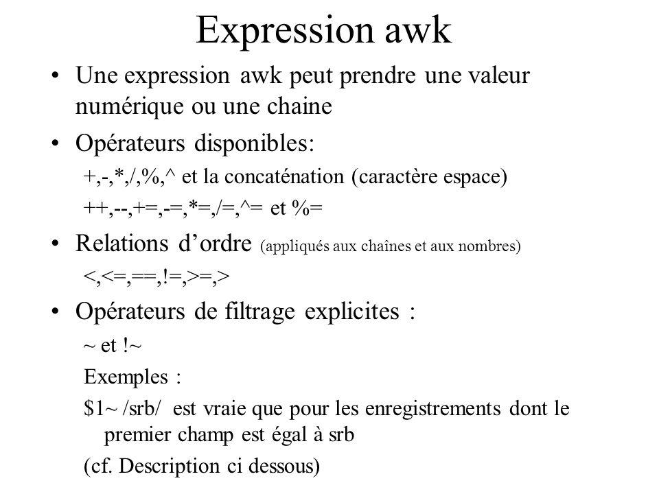 Expression awk Une expression awk peut prendre une valeur numérique ou une chaine Opérateurs disponibles: +,-,*,/,%,^ et la concaténation (caractère e