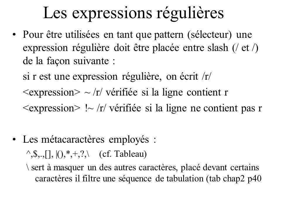 Les expressions régulières Pour être utilisées en tant que pattern (sélecteur) une expression régulière doit être placée entre slash (/ et /) de la fa