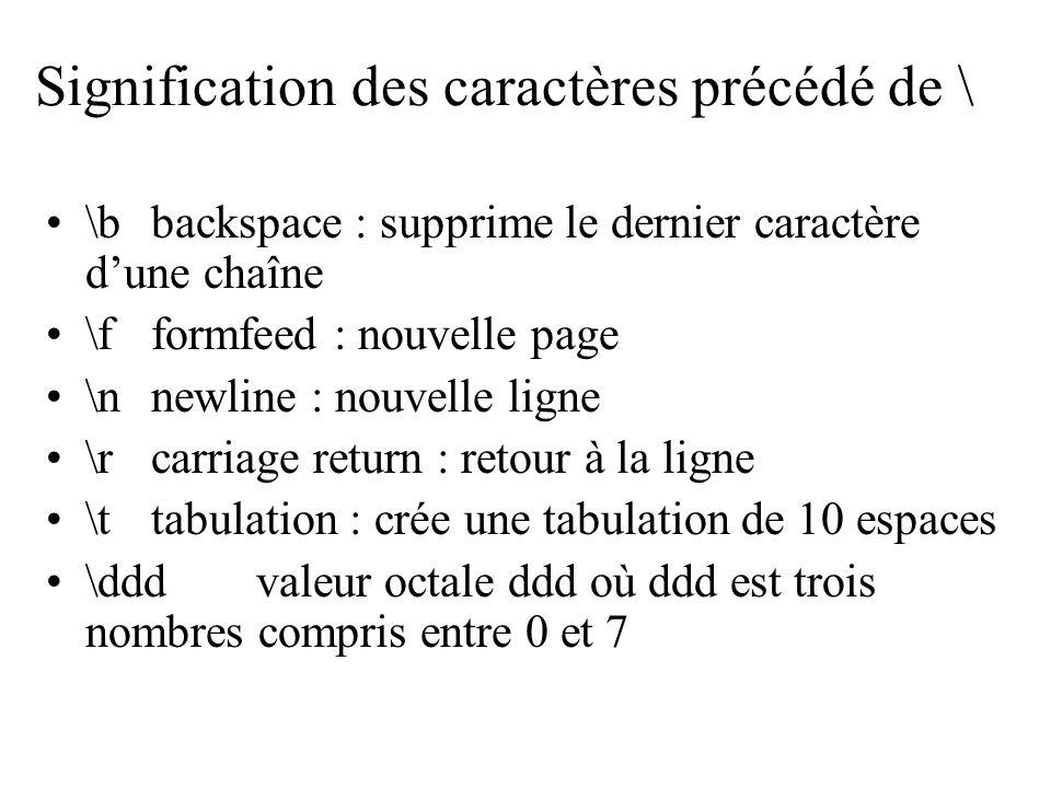 Signification des caractères précédé de \ \bbackspace : supprime le dernier caractère dune chaîne \fformfeed : nouvelle page \n newline : nouvelle lig