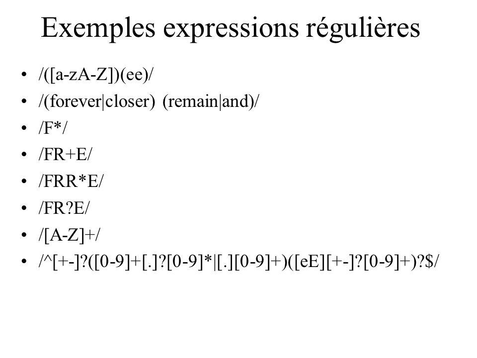 Exemples expressions régulières /([a-zA-Z])(ee)/ /(forever|closer) (remain|and)/ /F*/ /FR+E/ /FRR*E/ /FR?E/ /[A-Z]+/ /^[+-]?([0-9]+[.]?[0-9]*|[.][0-9]