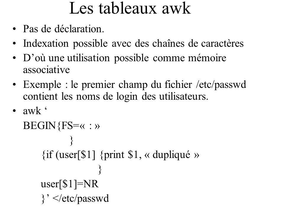 Les tableaux awk Pas de déclaration. Indexation possible avec des chaînes de caractères Doù une utilisation possible comme mémoire associative Exemple