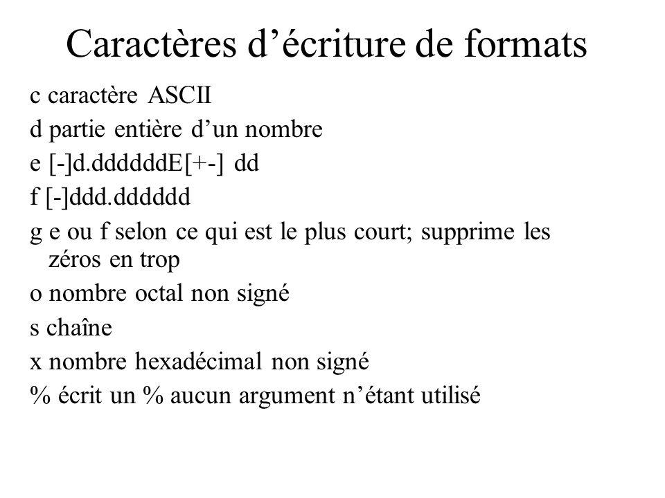 Caractères décriture de formats c caractère ASCII d partie entière dun nombre e[-]d.ddddddE[+-] dd f [-]ddd.dddddd g e ou f selon ce qui est le plus c