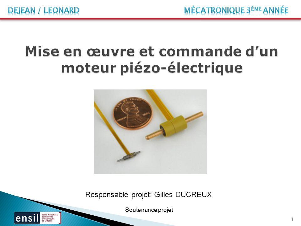 Soutenance projet Responsable projet: Gilles DUCREUX 1