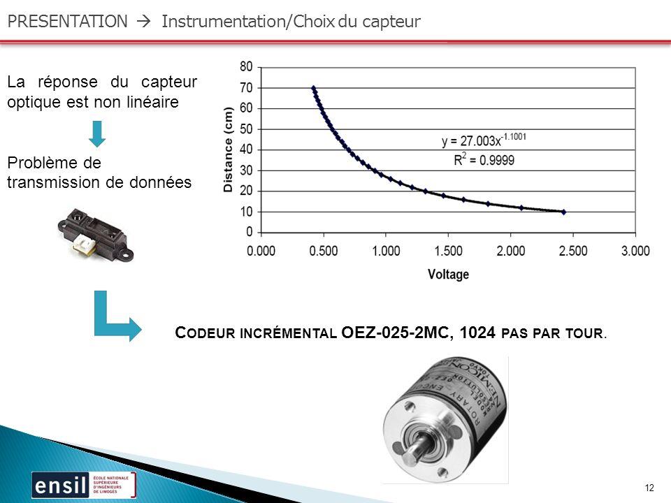 12 PRESENTATION Instrumentation/Choix du capteur La réponse du capteur optique est non linéaire Problème de transmission de données C ODEUR INCRÉMENTAL OEZ-025-2MC, 1024 PAS PAR TOUR.