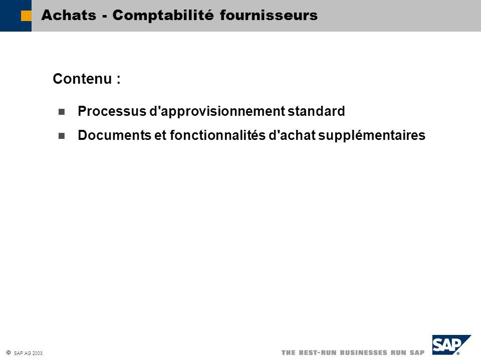 SAP AG 2003 Processus d'approvisionnement standard Documents et fonctionnalités d'achat supplémentaires Contenu : Achats - Comptabilité fournisseurs