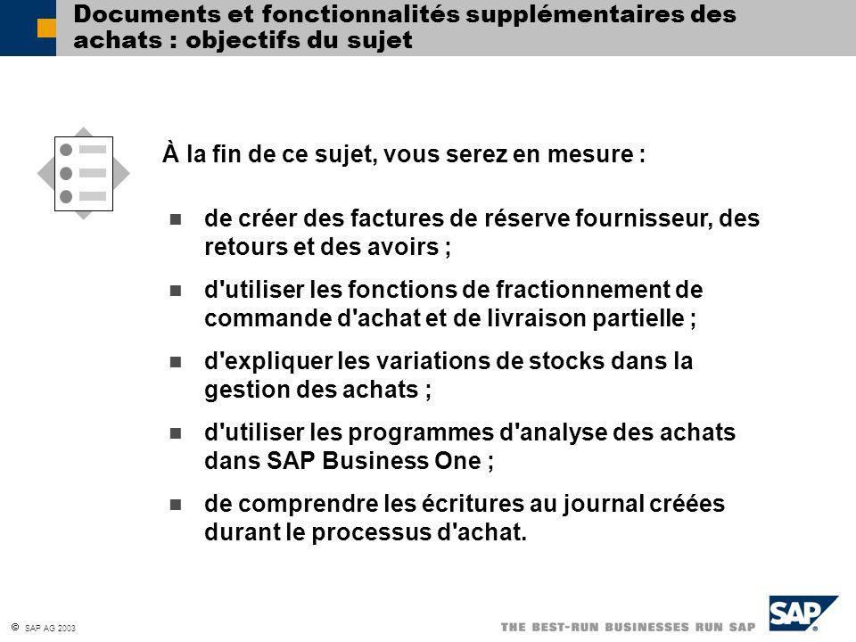 SAP AG 2003 Documents et fonctionnalités supplémentaires des achats : objectifs du sujet de créer des factures de réserve fournisseur, des retours et