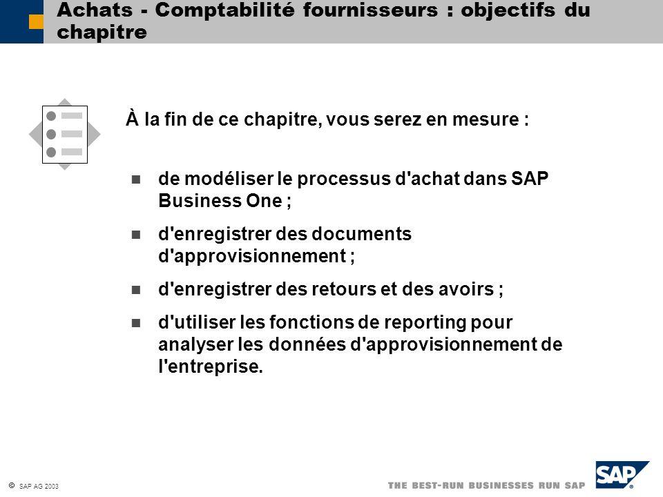 SAP AG 2003 de modéliser le processus d'achat dans SAP Business One ; d'enregistrer des documents d'approvisionnement ; d'enregistrer des retours et d