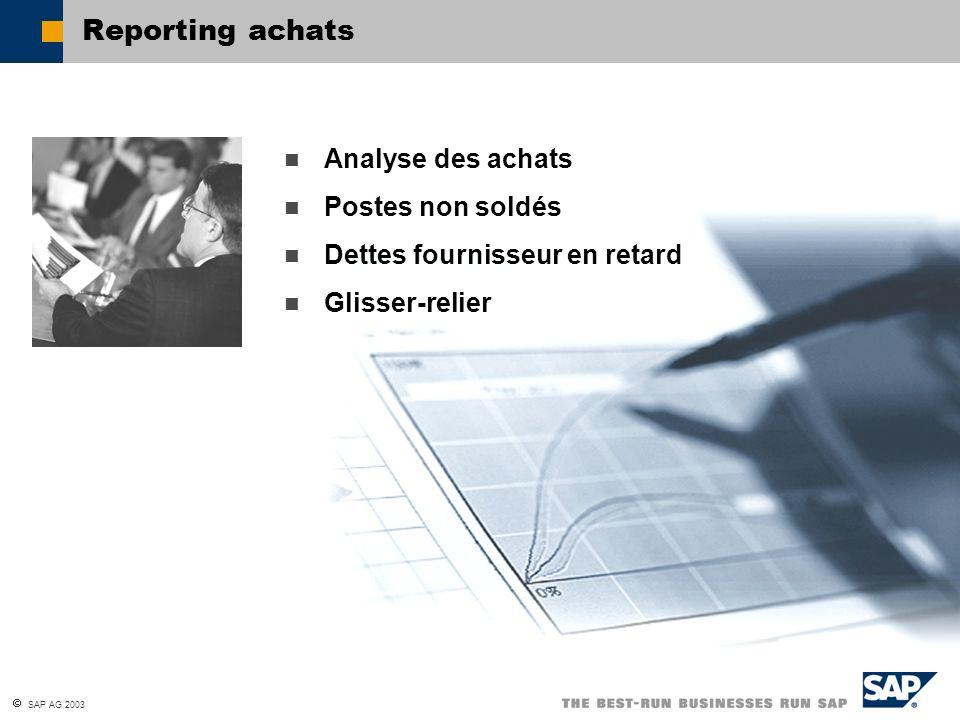 SAP AG 2003 Reporting achats Analyse des achats Postes non soldés Dettes fournisseur en retard Glisser-relier