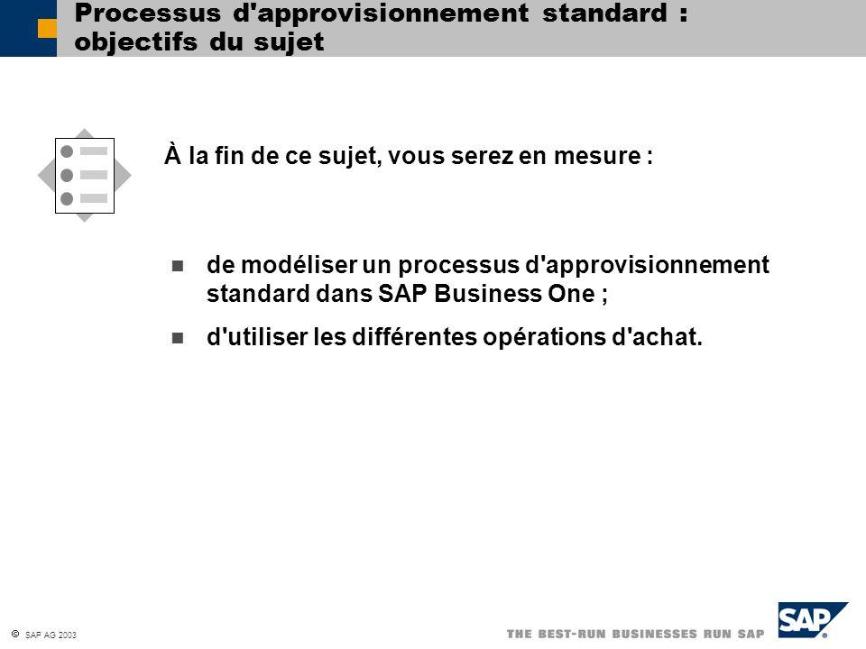 SAP AG 2003 Processus d'approvisionnement standard : objectifs du sujet de modéliser un processus d'approvisionnement standard dans SAP Business One ;